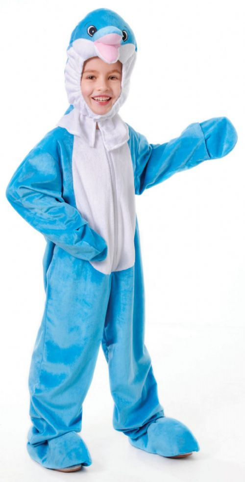Childs Dolphin With Head Costume Animal Fish Sea Fancy Dress Party